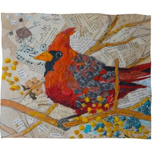 Elizabeth St Hilaire Nelson Cardinal Plush Fleece Throw Blanket