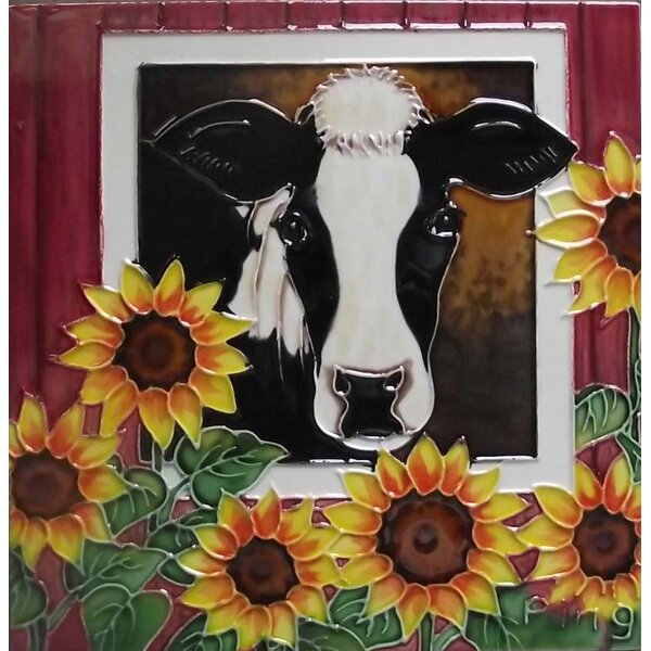Barn Cow with Sunflower Tile Wall Decor by Continental Art Center