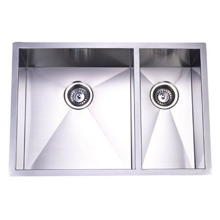 29 L x 20.06 W Towne Square Undermount Offset Double Bowl Kitchen Sink by Elements of Design