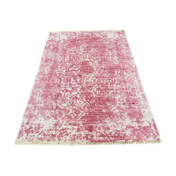 One-of-a-Kind Gutman Broken Persian and Pure Oriental Hand-Knotted Silk Pink Area Rug by World Menagerie