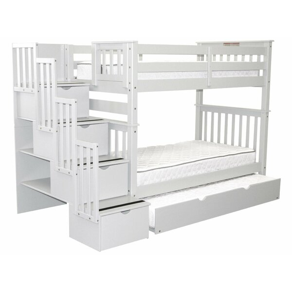 Tena Tall Stairway Twin Over Twin Bunk Bed with Trundle and Drawers by Harriet Bee