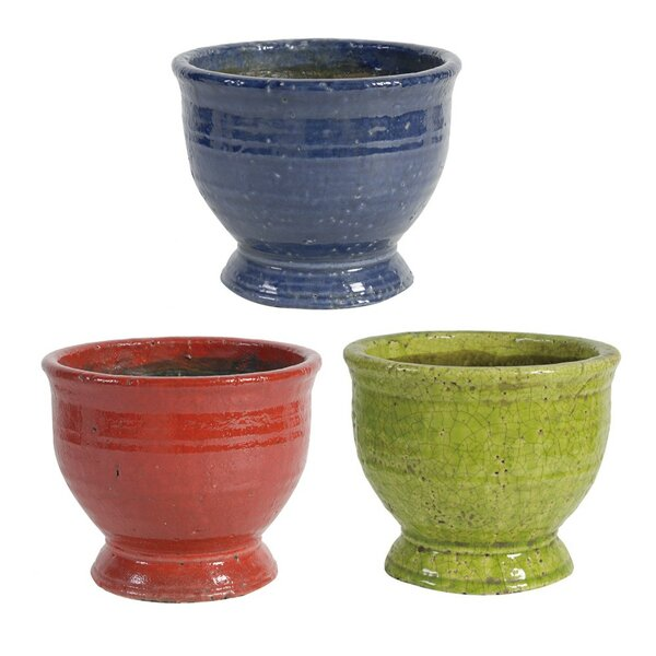 Osorio 3 Piece Set Round Terracotta Pot Planters by World Menagerie