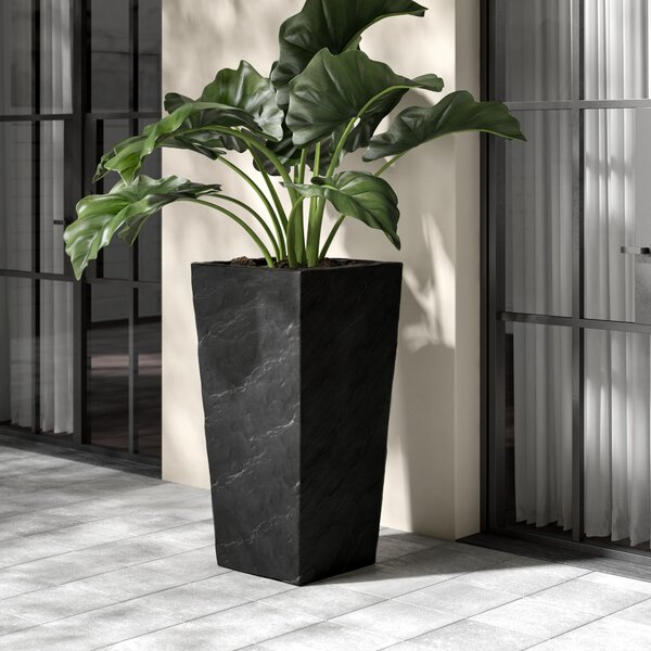 Modern Square Slate Concrete Pot Planter by Kasamodern
