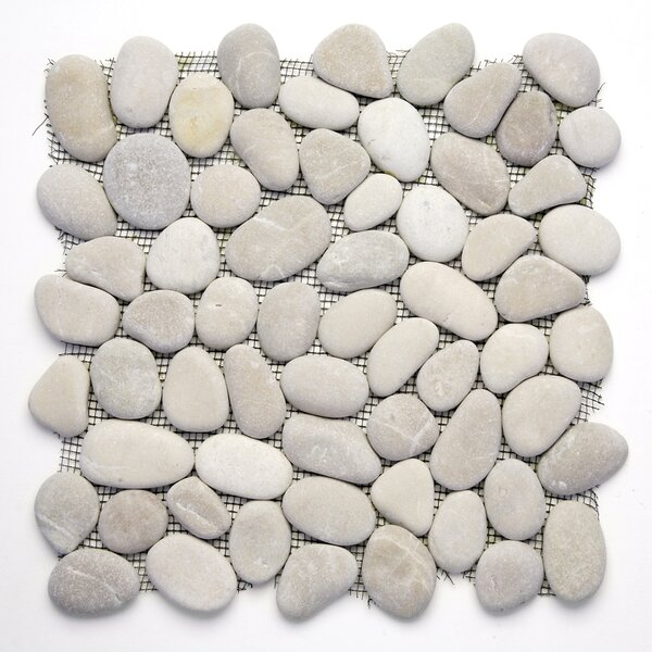 Decorative Random Sized Natural Stone Pebble Tile in Brookstone by Solistone
