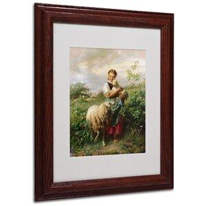 'The Shepherdess 1866' by Johann Hofner Framed Painting Print by Trademark Fine Art