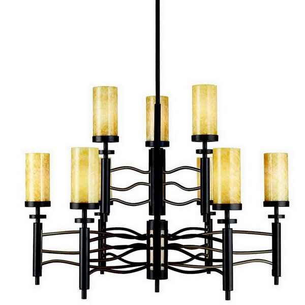 Gravelle 9 - Light Shaded Tiered Chandelier by Union Rustic Union Rustic
