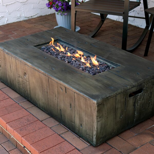 Rustic Faux Wood Outdoor Concrete Propane Gas Fire Pit Table by SunnyDaze Decor