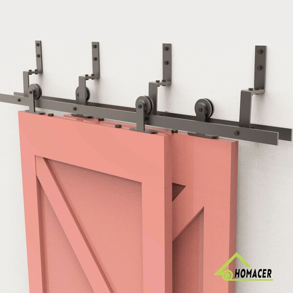 T-Shape Black Wheel Barn Door Hardware by Homacer