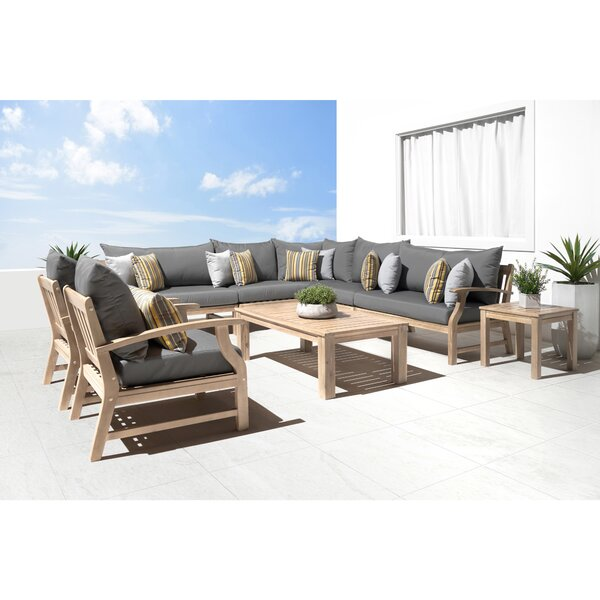 Mcclellan 9 Piece Sunbrella Sectional Seating Group with Cushions by Rosecliff Heights