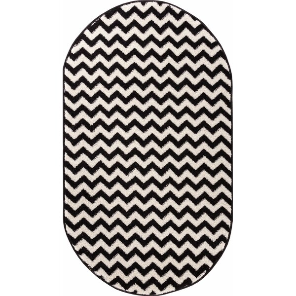 Burgess Chevron Black/White Area Rug by Ebern Designs