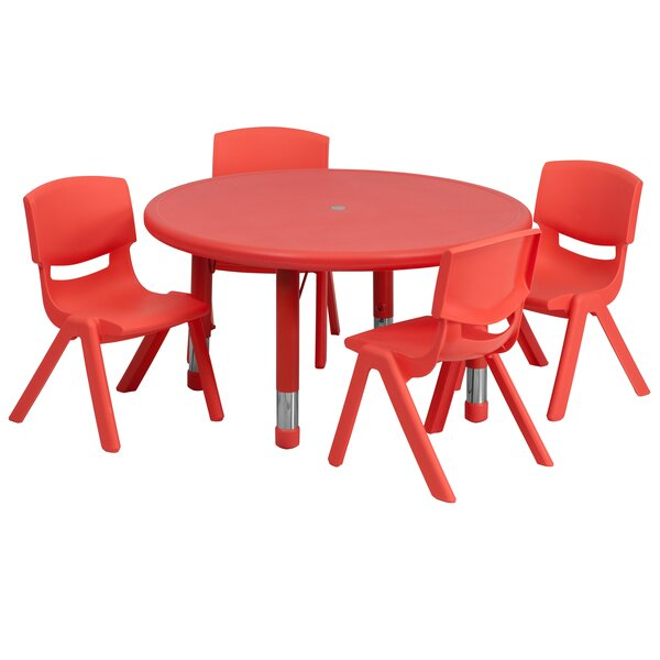 5 Piece Circular Activity Table & 10.5 Chair Set b