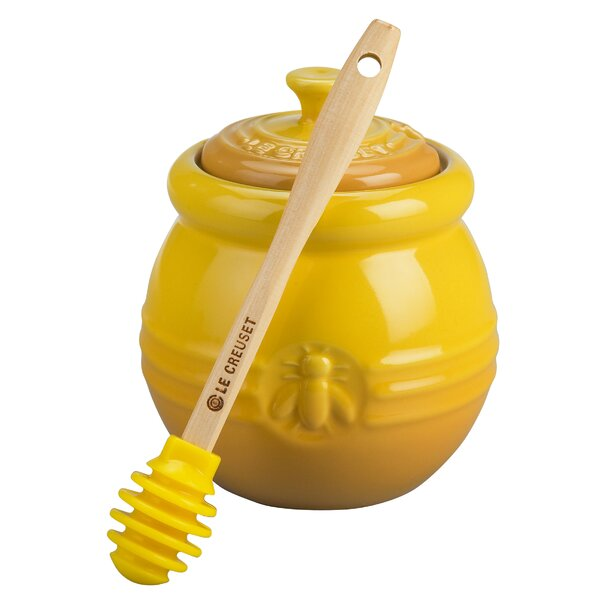 Stoneware Honey Pot with Silicon Honey Dipper by Le Creuset