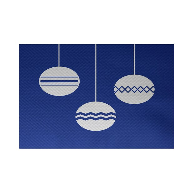 Geo-Bulbs Decorative Holiday Print Royal Blue Indoor/Outdoor Area Rug by The Holiday Aisle