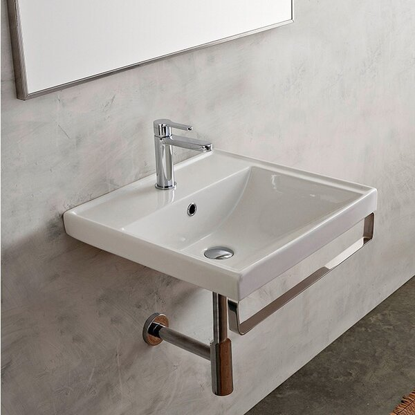ML Ceramic 24 Wall Mount Bathroom Sink with Overflow by Scarabeo by Nameeks
