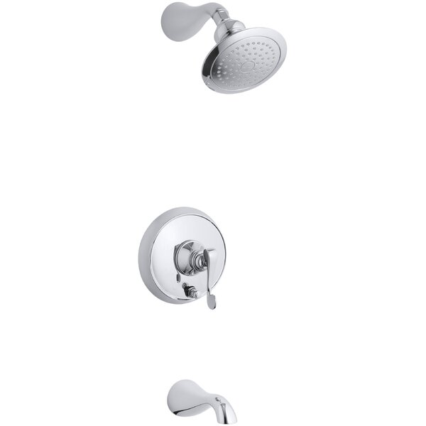 Revival Rite-Temp Pressure-Balancing Bath and Shower Faucet Trim with Push-Button Diverter and Scroll Lever Handle, Valve Not Included by Kohler