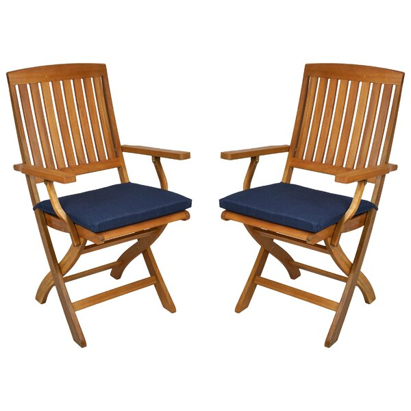 Indoor/Outdoor Folding Patio Chair Cushion (Set of 2) by Blazing Needles