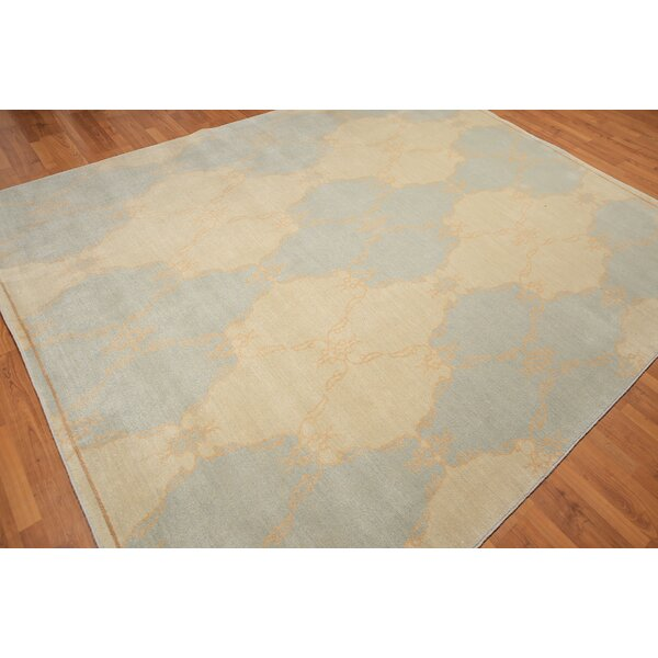One-of-a-Kind Quinonez Hand-Knotted Wool Blue/Yellow Area Rug by Bloomsbury Market
