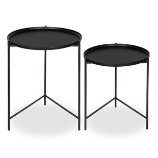 Petersburg Round Metal 2 Piece Nesting Tables