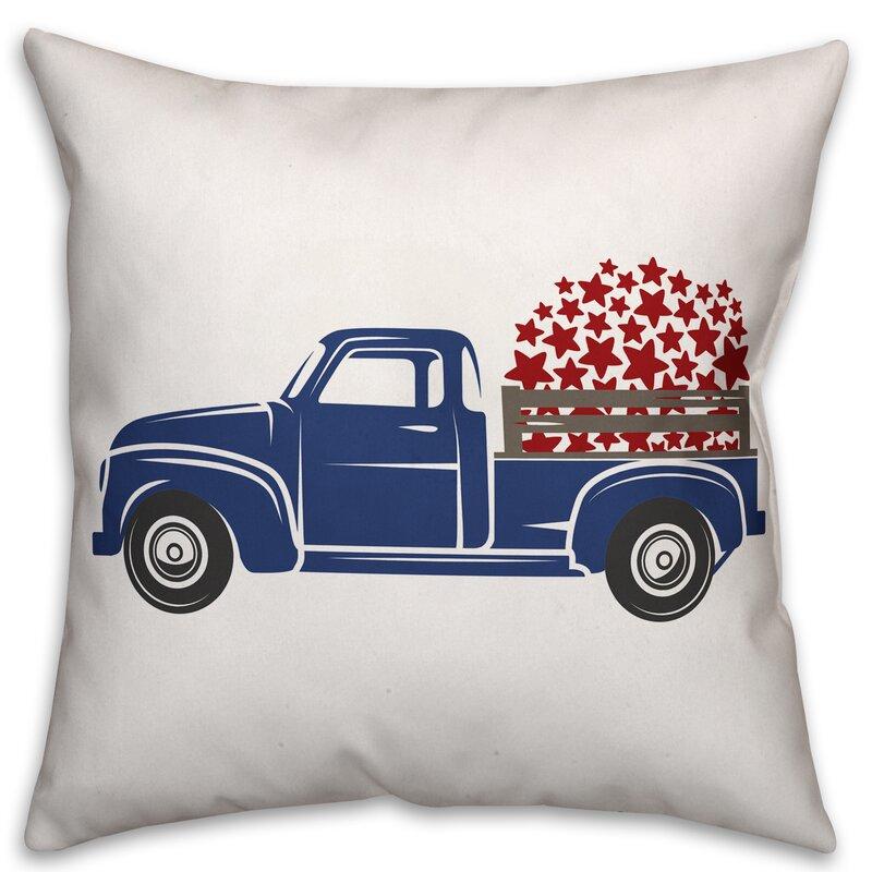 August Grove Ciocca Stars Vintage Truck Throw Pillow Wayfair