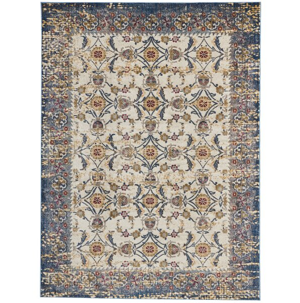 Mcknight Ivory/Blue Area Rug by Bungalow Rose