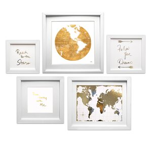 'Travel the World Collage' 5 Piece Framed Graphic Art Set by Mercury Row
