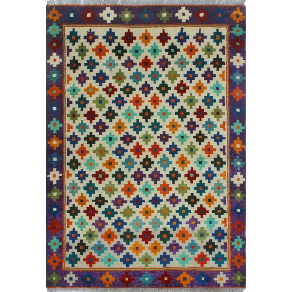 One-of-a-Kind Millender Alaba Hand-Knotted Wool Beige/Blue Area Rug by Bloomsbury Market