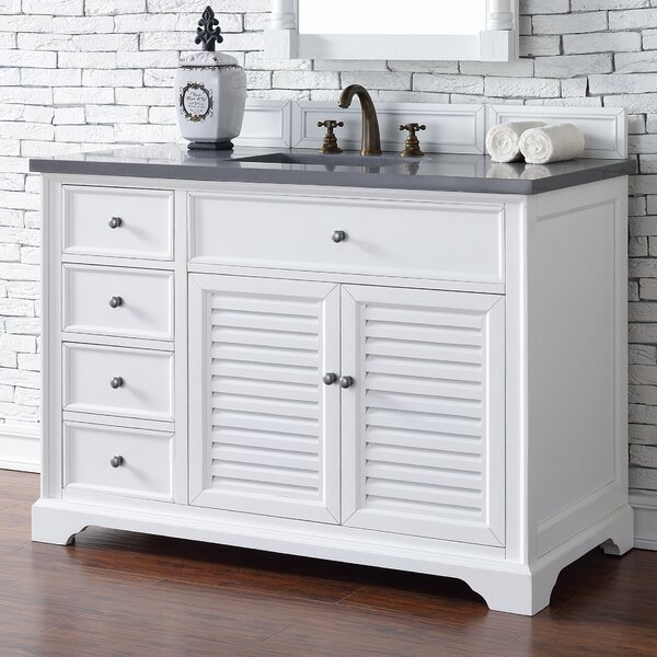 Osmond 48 Single Cottage White Stone Top Bathroom Vanity Set by Greyleigh
