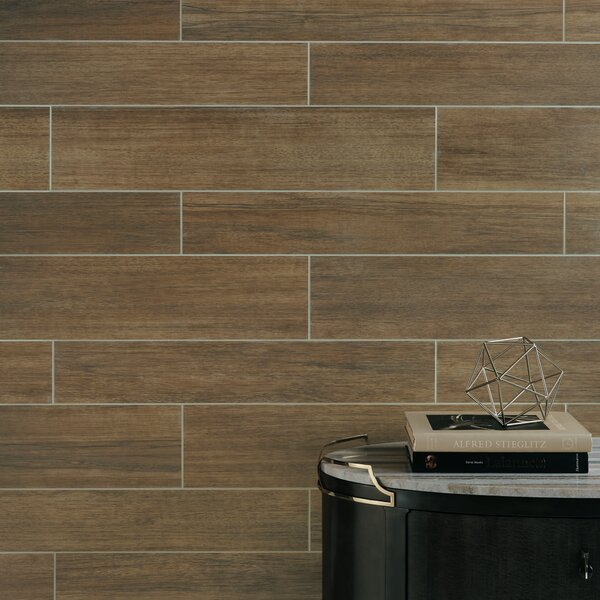 Harmony Grove 8 x 36 Porcelain Wood Look Tile in Olive Bark by PIXL