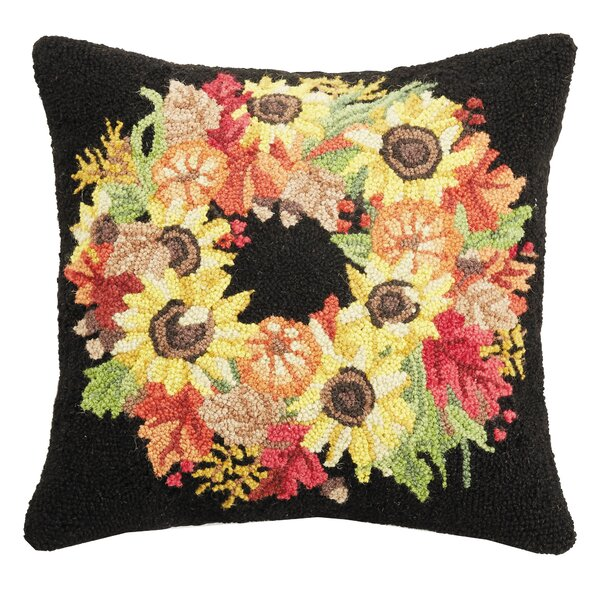 Mcfall Autumn Wreath Wool Throw Pillow by The Holiday Aisle
