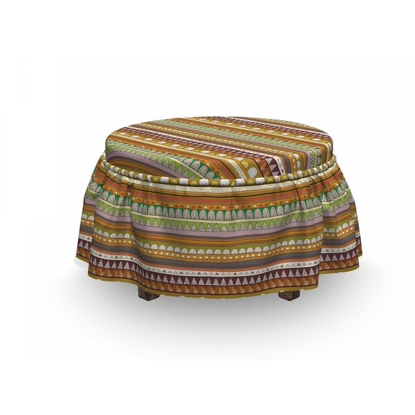 Triangle Semicircle Shapes Ottoman Slipcover (Set Of 2) By East Urban Home