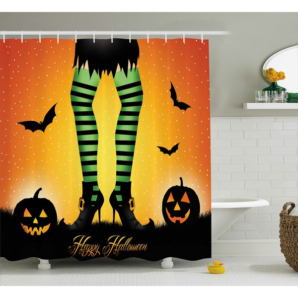 Halloween Decor Cartoon Witch Shower Curtain by The Holiday Aisle
