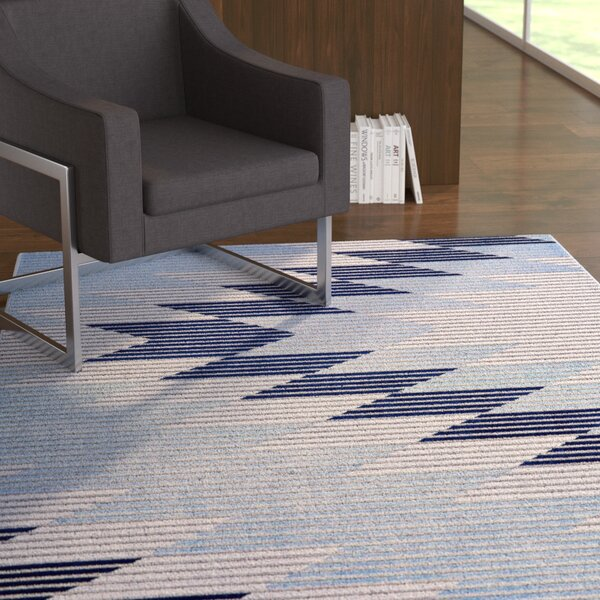 Ewers Gray/Light Blue Area Rug by Ebern Designs