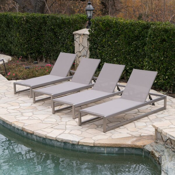 Roberson Reclining Outdoor Chaise Lounge Set (Set of 4)