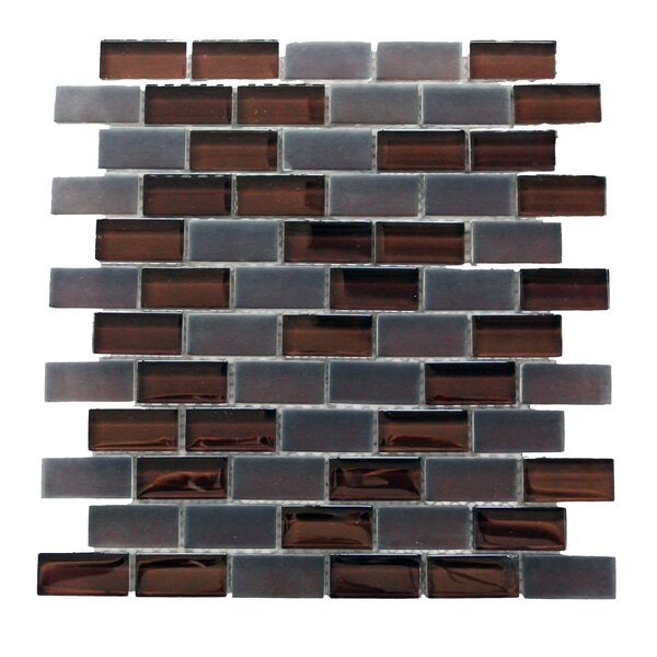 Free Flow 1 x 2 Glass Mosaic Tile in Coffee by Abolos