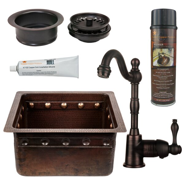 Gourmet 16 L x 14 W Single Undermount Bar Sink with Faucet by Premier Copper Products