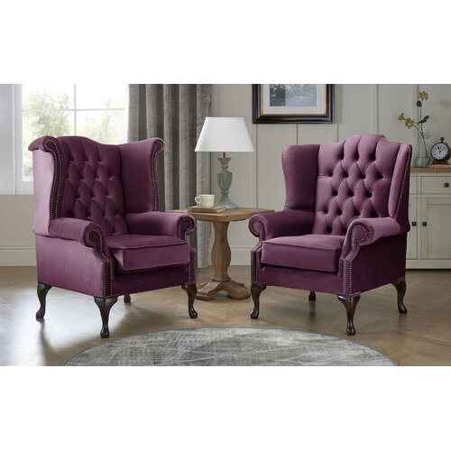 Tamesbury Wingback Chair Ophelia and Co. Upholstery Colour: Boysnberry