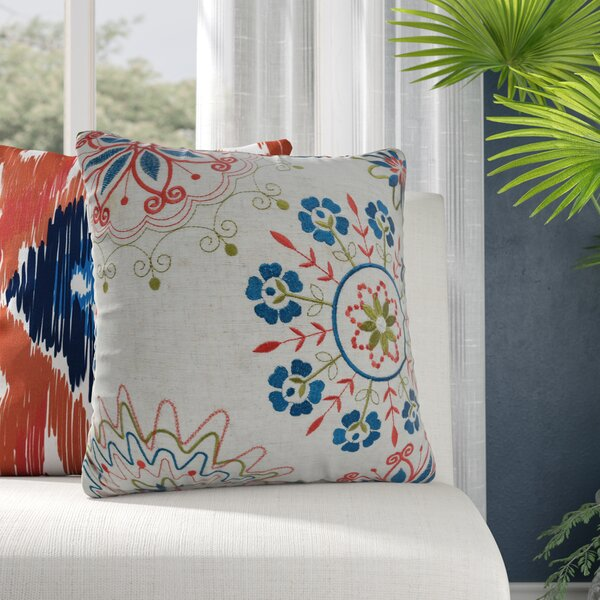 Aquinnah Embroidered Whimsical Throw Pillow by Bungalow Rose