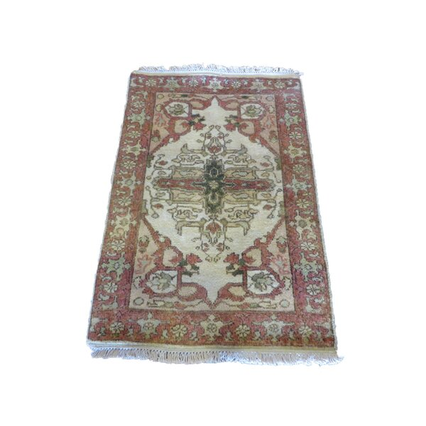 One-of-a-Kind Pellegrino Antiqued Serapi Heriz Hand-Knotted Ivory Area Rug by Bloomsbury Market