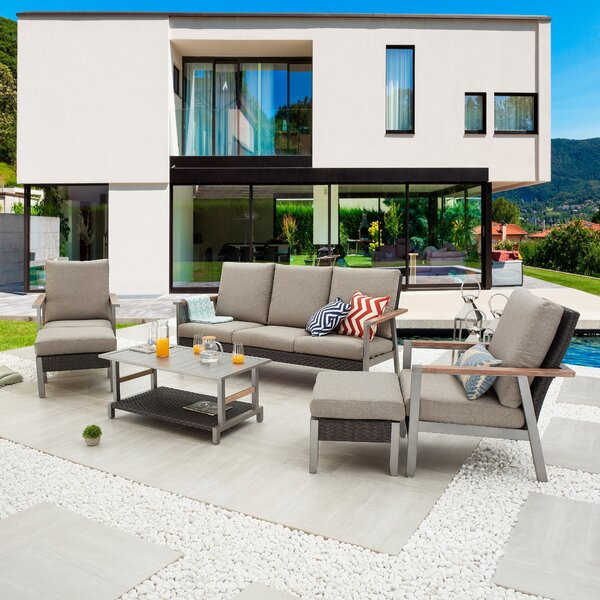 Saniye Outdoor 6 Piece Sofa Seating Group with Cushions by Latitude Run Latitude Run