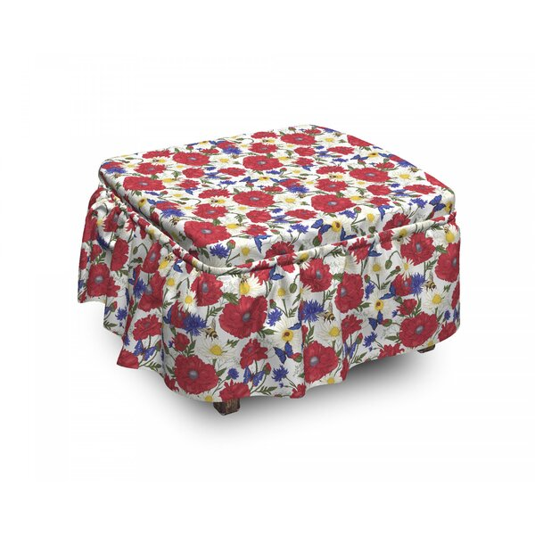Floral Blooming Poppies 2 Piece Box Cushion Ottoman Slipcover Set By East Urban Home