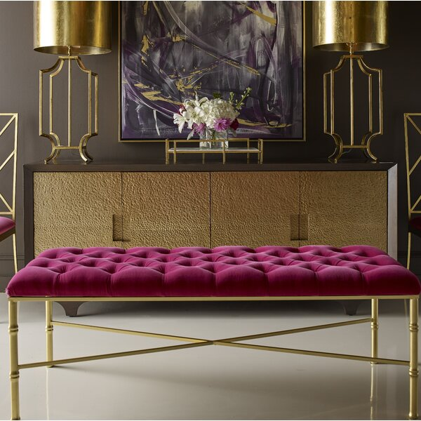 Stella Bamboo Upholstered Bench by Worlds Away