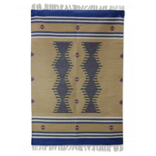 Hand-Loomed Blue/Brown Area Rug by Novica