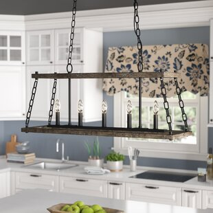 Inez Western Bronze Dwelling 5 Light Kitchen Island Pendant