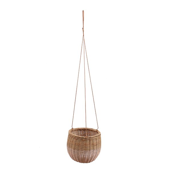 Galena Round Basket Rattan Hanging Planter with Faux Leather Strings by Bungalow Rose