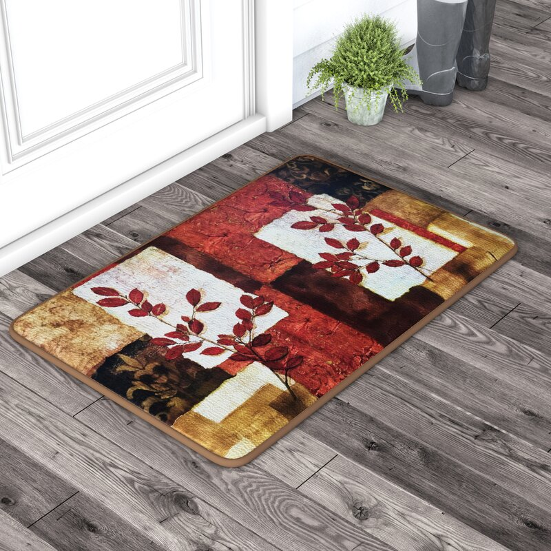 Black Mesa Spice Leaves Oversized Anti Fatigue Kitchen Mat