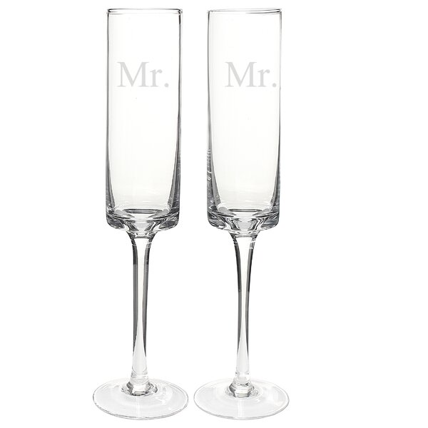 Mr. and Mr. Contemporary 8 Oz. Champagne Flute (Set of 2) by Cathys Concepts
