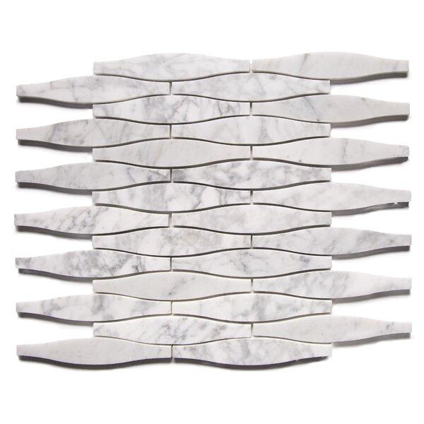 Uyuni Modern 1 x 5 Engineered Stone Mosaic Tile in White/Gray by Byzantin Mosaic