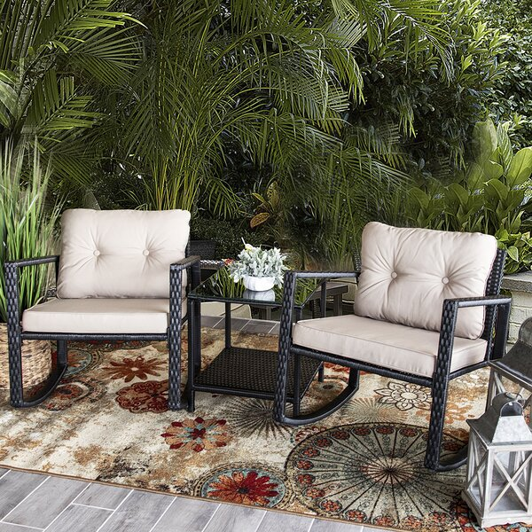 Jerrod 3 Piece Rattan Seating Group with Cushions by Alcott Hill