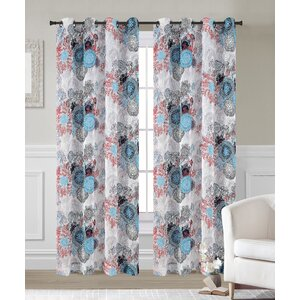 Greenwich Abstract Sheer Grommet Curtain Panels (Set of 2)
