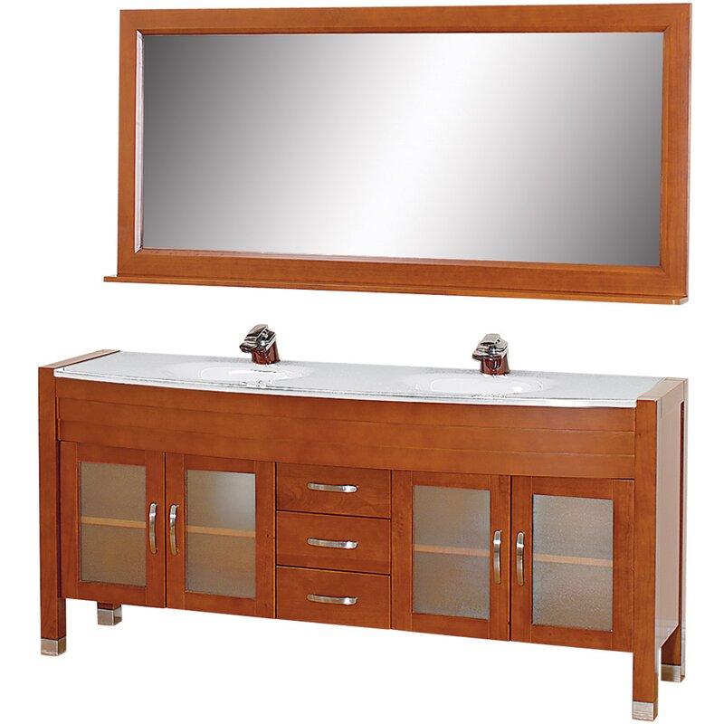 """Daytona 71"""" Double Cherry Bathroom Vanity Set with Mirror"""